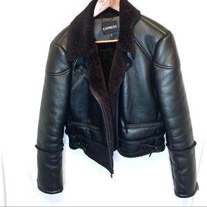 🔥 HOST PICK🔥 Express faux shearling moto jacket